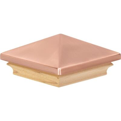 Deckorators 4 In. x 4 In. Plastic Top, Cedar Base Press-On Post Cap