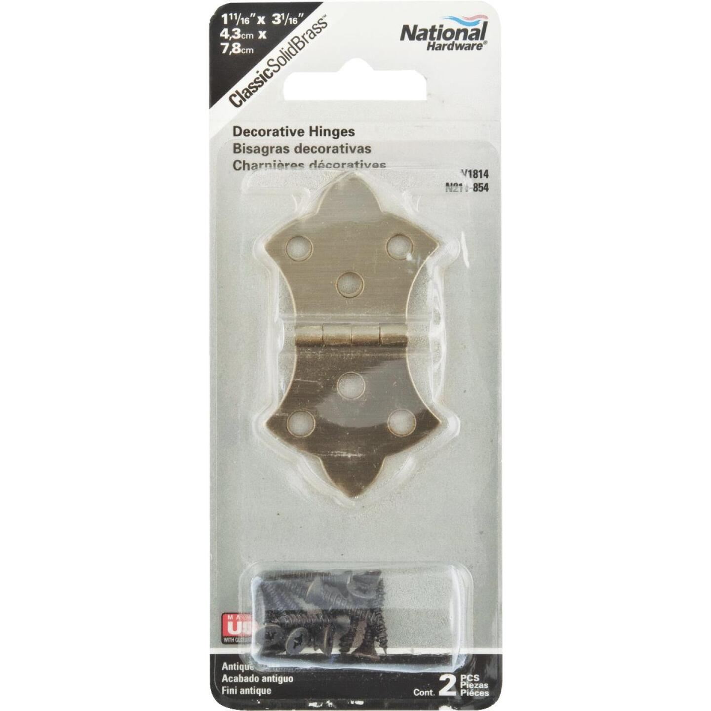 National 1-11/16 In. x 3-1/16 In. Antique Brass Hinge (2-Pack) Image 2
